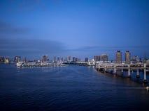View From Rainbow Bridge, Tokyo, Japan, North Route. The Rainbow Bridge レインボーブリッジ Reinbō Burijji is a royalty free stock photography