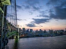 View From Rainbow Bridge, Tokyo, Japan, North Route. The Rainbow Bridge レインボーブリッジ Reinbō Burijji is a royalty free stock photos