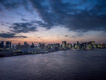 View From Rainbow Bridge, Tokyo, Japan, North Route. The Rainbow Bridge レインボーブリッジ Reinbō Burijji is a stock photography