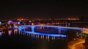 Rainbow bridge. This is a Rainbow bridge, between Petrovaradin and Novi Sad, the place of exit festival Royalty Free Stock Photos