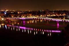 Rainbow bridge 2. Bridge rainbow over the river Danube, in Novi Sad - Petrovaradin, Serbia Royalty Free Stock Photography