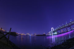 Rainbow Bridge and the Beautiful Tokyo City Lights Stock Photos