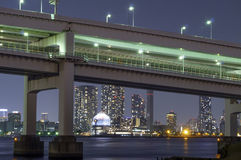 Rainbow Bridge and Beautiful Tokyo City Lights Stock Photos