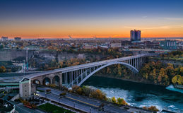 Rainbow Bridge connecting Canada and United States. At niagara falls royalty free stock photography