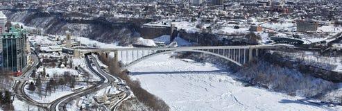 Rainbow Bridge. Crosses the Niagara River and Niagara Gorge between Niagara Falls New York and Niagara Falls Ontario Royalty Free Stock Images