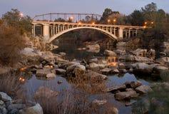 Rainbow Bridge in Folsom. At Dusk Stock Photography