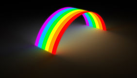 Rainbow bridge glowing in dark color light. Isolated rainbow arc bridge glow on dark background. Colorful spectrum with different hue glowing in the darkness Stock Photography