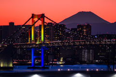 Rainbow Bridge with Mt Fuji Stock Photo