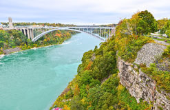 Rainbow Bridge in Niagara Falls in autumn Royalty Free Stock Image