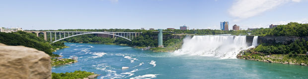 Rainbow Bridge and Niagara Falls USA Royalty Free Stock Photo