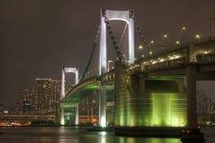 Rainbow Bridge at Night. A closeup of the Rainbow Bridge over Tokyo Bay at night from Daiba Park Royalty Free Stock Photos