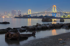 Rainbow bridge at night Royalty Free Stock Photography