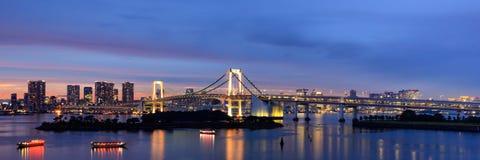 Rainbow Bridge at night, Tokyo, Japan Stock Photos