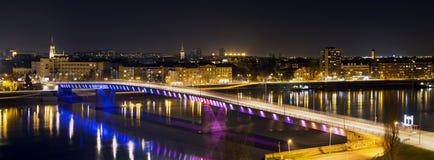 Rainbow bridge in Novi Sad. Serbia at night Royalty Free Stock Image