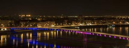 Rainbow bridge in Novi Sad. Serbia at night with view of the city panorama Stock Photo