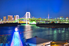 Rainbow bridge of Odaiba, Tokyo. A beautiful night scene of the Rainbow bridge taken from Odaiba area Royalty Free Stock Photos