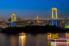 Rainbow bridge. In Odaiba, Tokyo Stock Photography