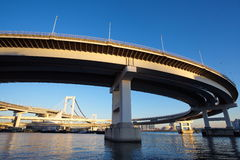 Rainbow Bridge from Odaiba, Tokyo, Japan Stock Images