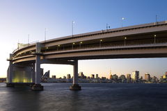 Rainbow Bridge from Odaiba, Tokyo, Japan Royalty Free Stock Image
