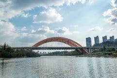Rainbow bridge over lake Royalty Free Stock Photography