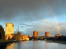 Rainbow bridge. Rainbow over the river Pregolya in Kaliningrad Royalty Free Stock Photo