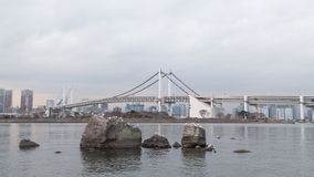 Rainbow Bridge and seagulls Stock Images