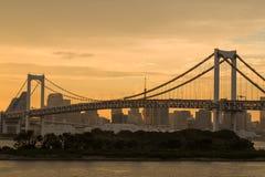 Rainbow Bridge at sunset, Tokyo Stock Images