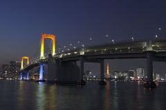 Rainbow Bridge in Tokyo Bay Royalty Free Stock Photos