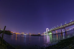 Rainbow Bridge with Tokyo City Lights Royalty Free Stock Photos