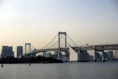 Rainbow Bridge, Tokyo, Japan. Rainbow Bridge is one of the most famous bridges in Japan, connecting Tokyo downtown with the artificial island of Odaiba Royalty Free Stock Image