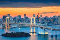 Rainbow Bridge in Tokyo, Japan. Stock Images