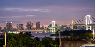 Rainbow bridge and Tokyo skyline from Odaiba, Nightview and tourists Stock Photos