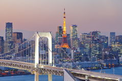 Rainbow Bridge and tokyo tower Stock Image