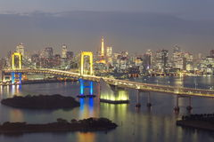 Rainbow Bridge and tokyo tower Royalty Free Stock Image