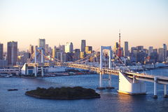 Rainbow Bridge and tokyo tower Stock Images