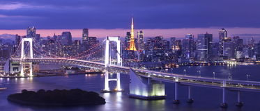 Rainbow Bridge and tokyo tower Stock Photo