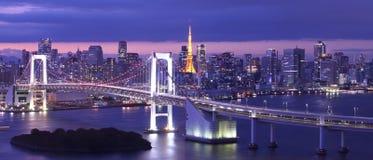 Rainbow Bridge and tokyo tower Stock Photo