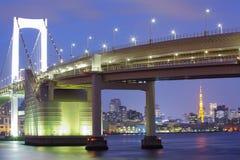 Rainbow bridge and Tokyo Tower landmark Stock Photography