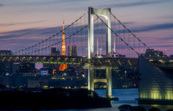 Rainbow Bridge with Tokyo Tower Stock Image