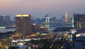 Rainbow bridge and Tokyo Tower Royalty Free Stock Photo
