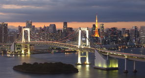 Rainbow bridge and Tokyo Tower Stock Photography