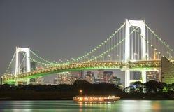 Rainbow Bridge. View of Tokyo Bay, Rainbow bridge at Odaiba,JAPAN Royalty Free Stock Photos
