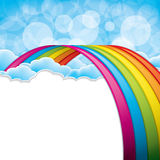 Rainbow. Bright arched rainbow with clouds realistic vector illustration vector illustration