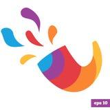 Rainbow bright logo of shofar. Colorful logo of shofar horn. Rosh hashanah traditional symbol Royalty Free Stock Image