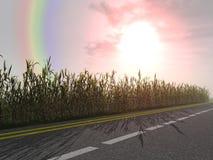 Rainbow and bright sunrise royalty free stock photo
