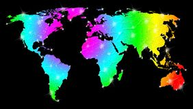 Rainbow Bright World Map Stock Photography
