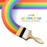 Rainbow with brush. Abstract Colorfull background. Vector illustration. Stock Photos