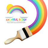 Rainbow with brush. Abstract Colorfull background. Vector illustration. Royalty Free Stock Image