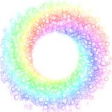 Rainbow Bubbles Spiral Circular Frame. Rainbow bubble drops in a spiral shape forming a circular frame border with colorful prysm colors Stock Photo