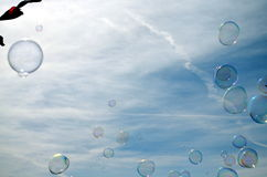 Rainbow bubble in the sky stock images